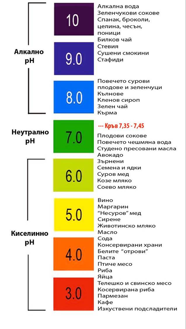 PH table - таблица алкално-киселинен баланс