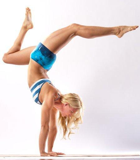 Yoga girl on hands