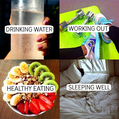 working out, drinking water, healthy eating