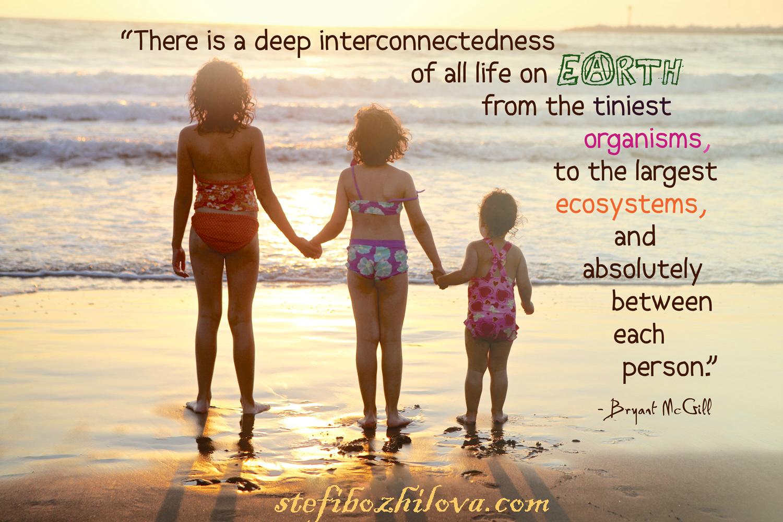 Има дълбока взаимосвързаност в целия живот на Земята - от най-малките организми до големите екосистеми и абсолютно между всеки един човек!!!