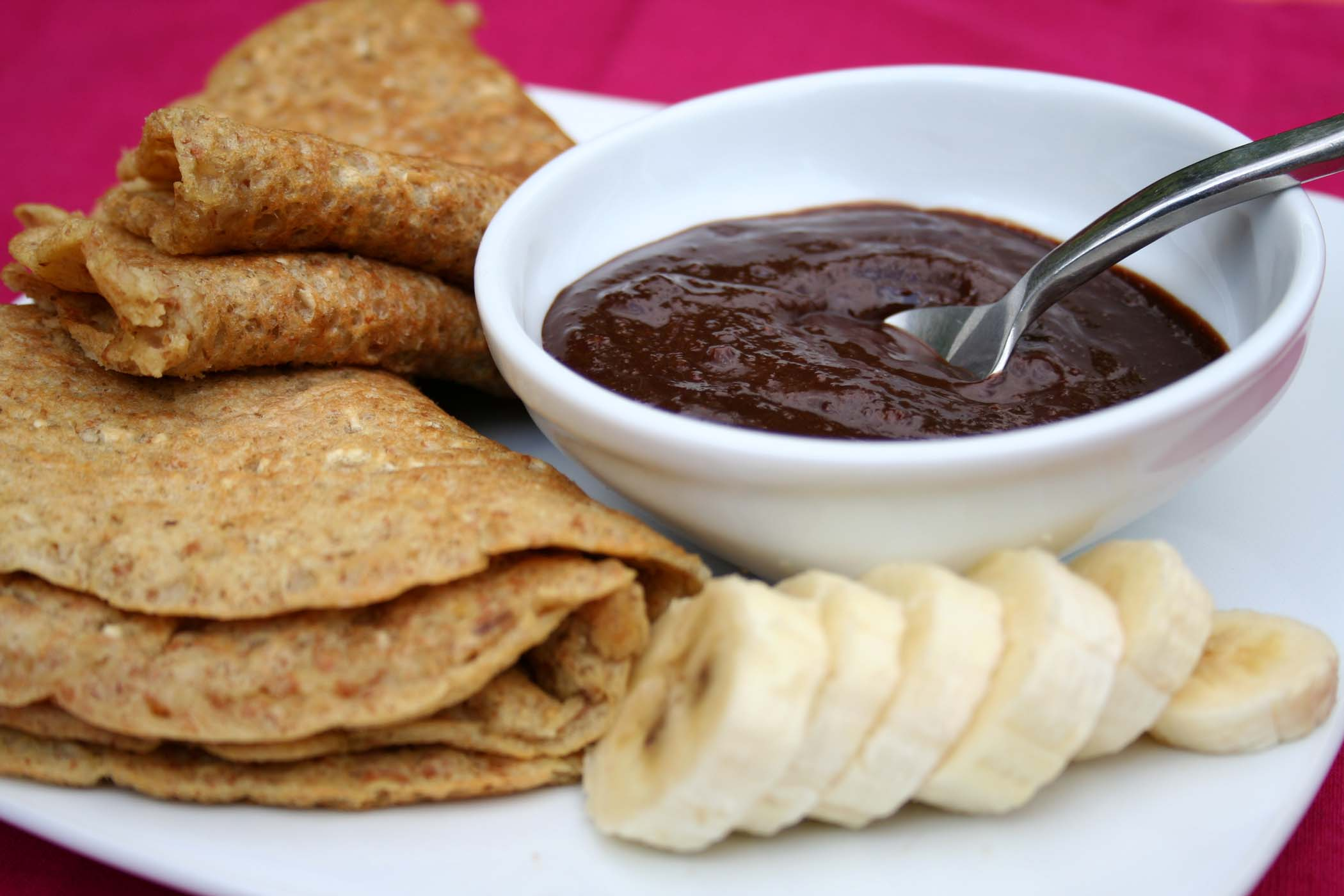 Vegan Pancakes with Chocolate-Banana cream