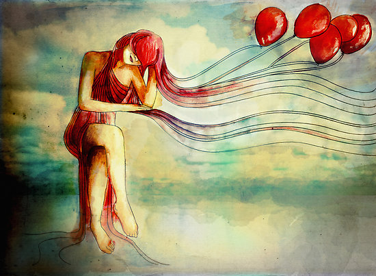 Red girl baloons wind