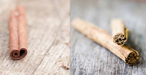 От ляво - касия; от дясно - цейлонска канела