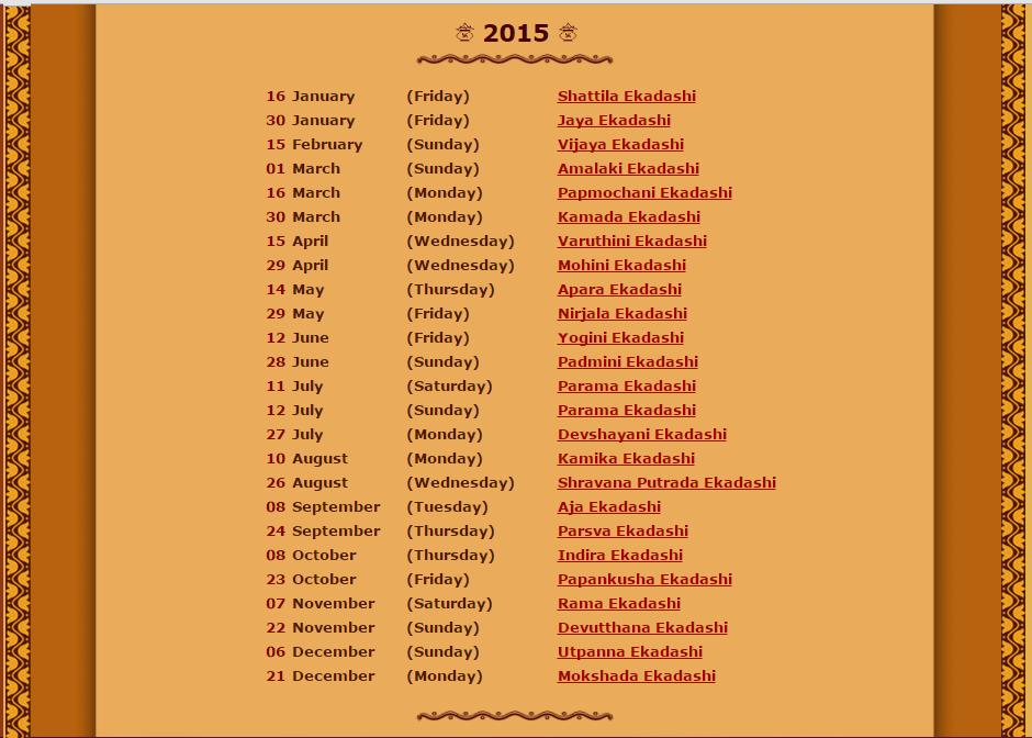 Ekadashi 2015 days