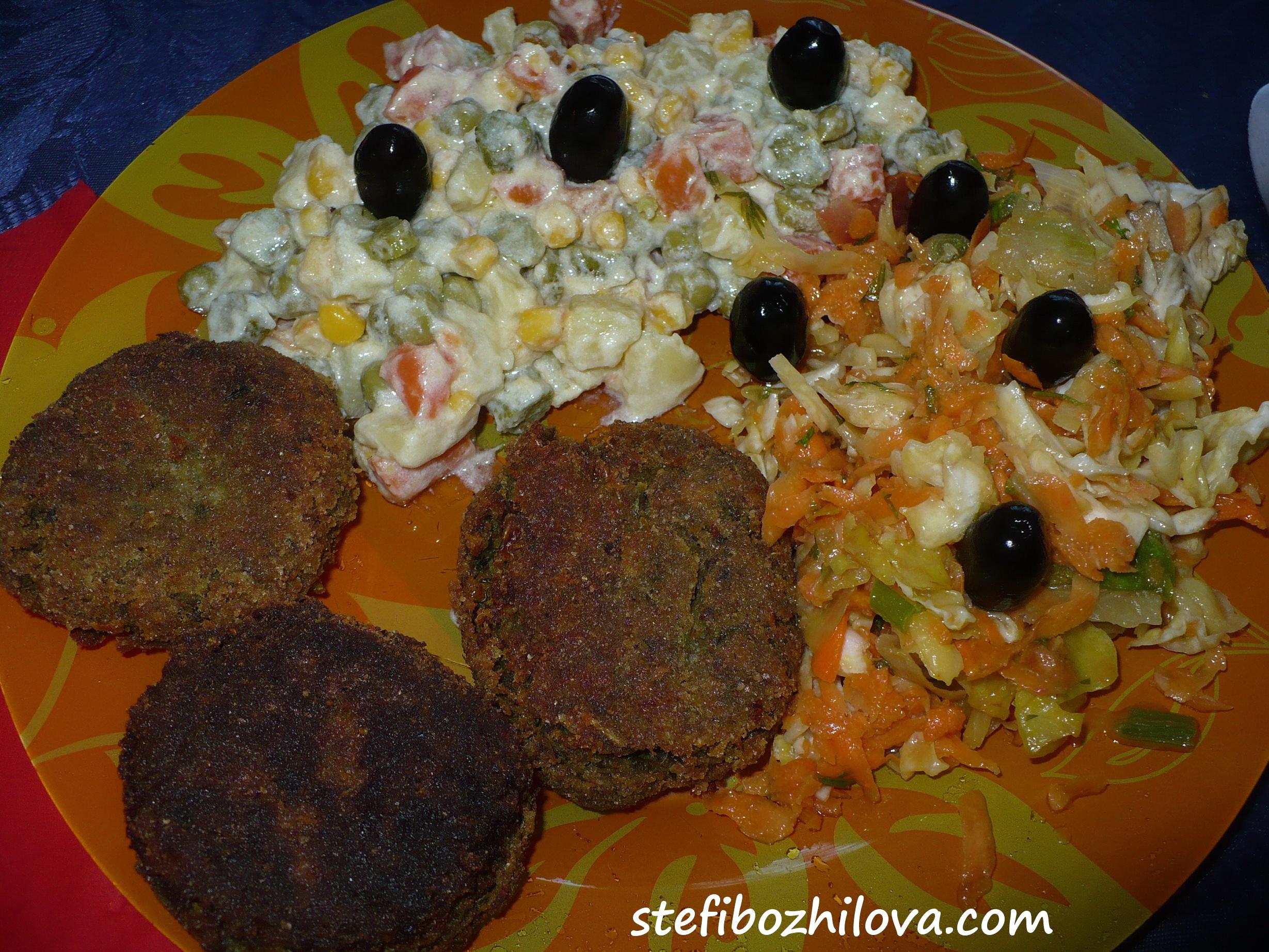 Lentils balls, Russian salad