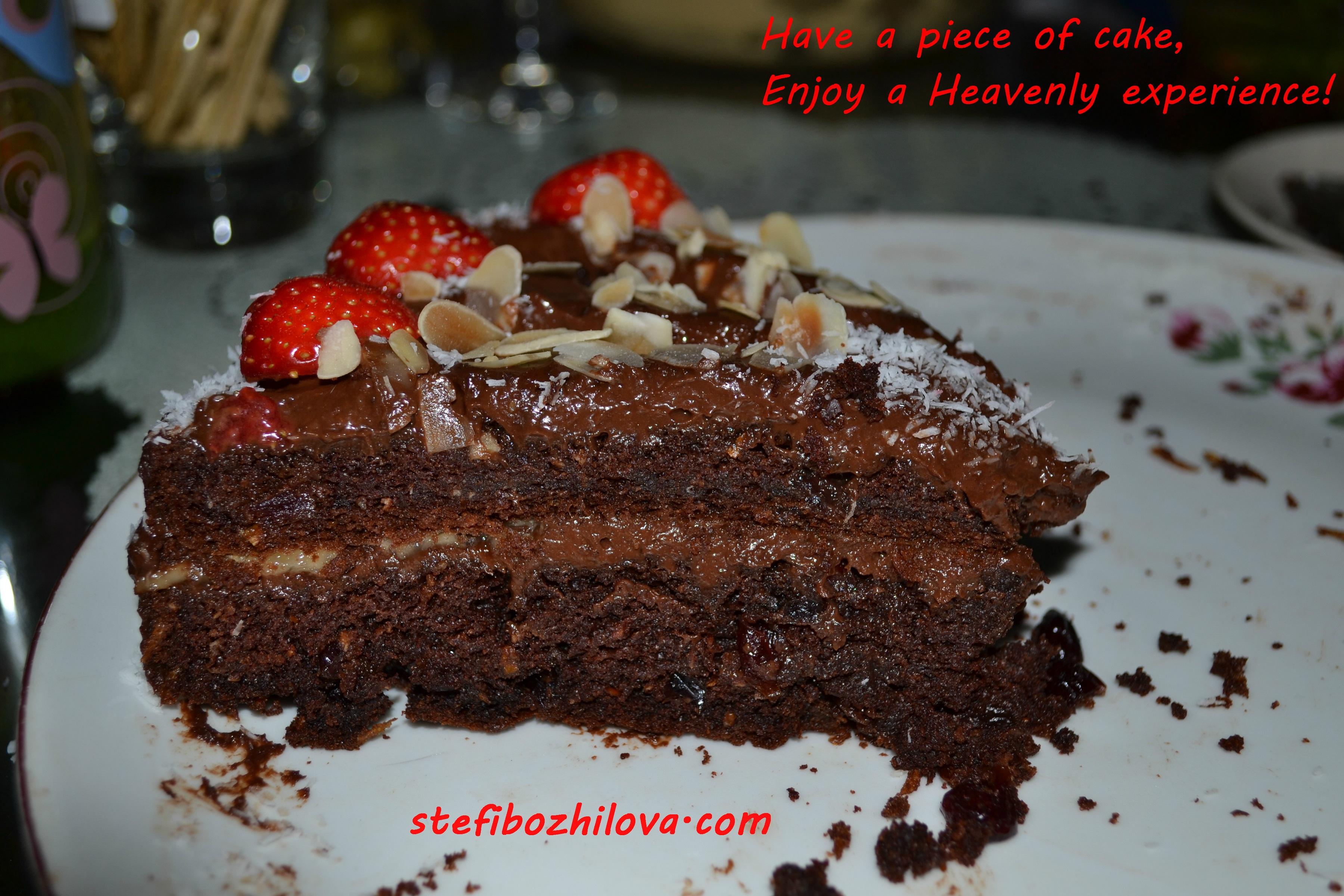 Vegan chocolate cake slice