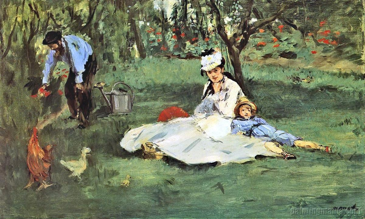 Douard Manet - The-monet-family-in-their-garden-at-Argenteuil-1874