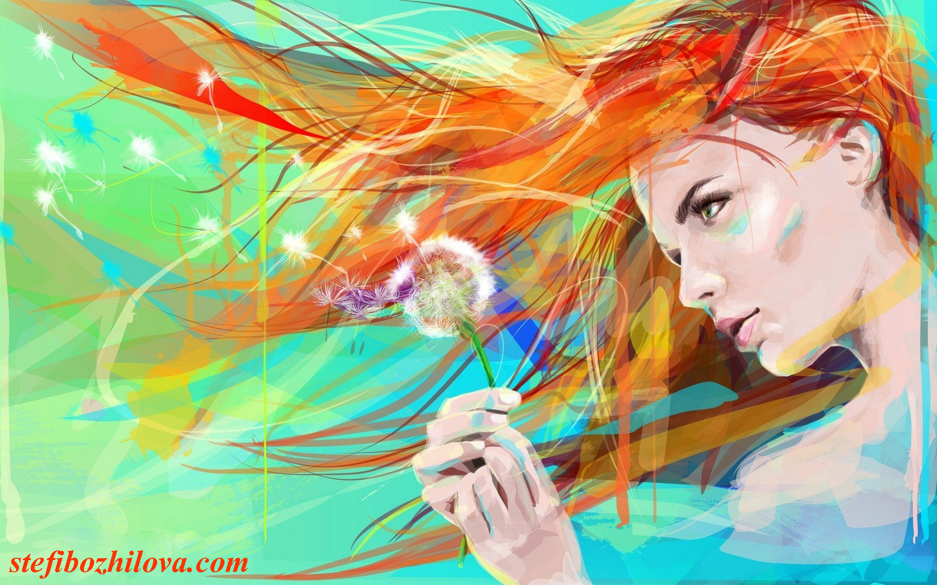 painting-art-drawing-girl-flower-dandelion