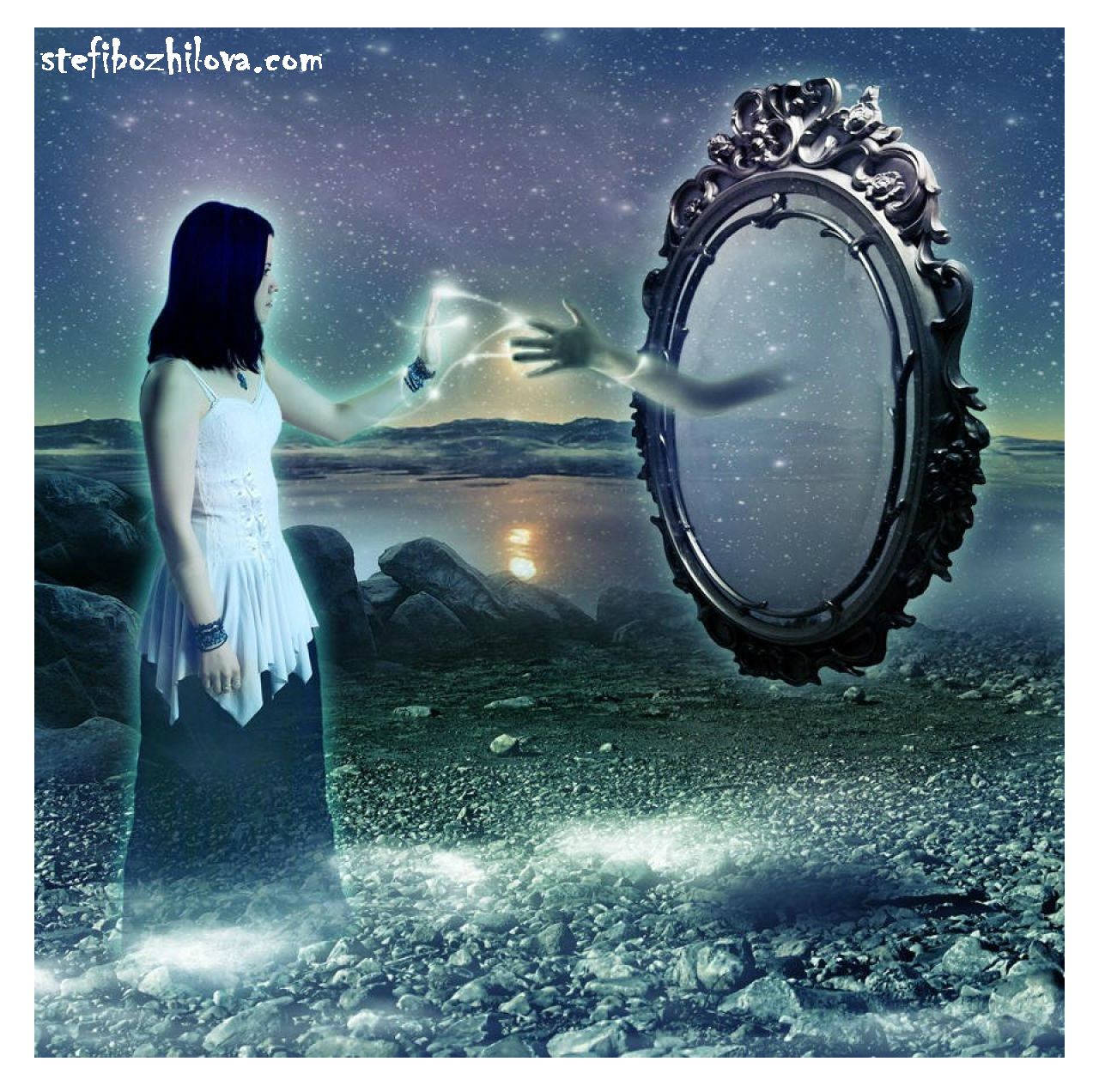 Girl mirror reflection starry sky