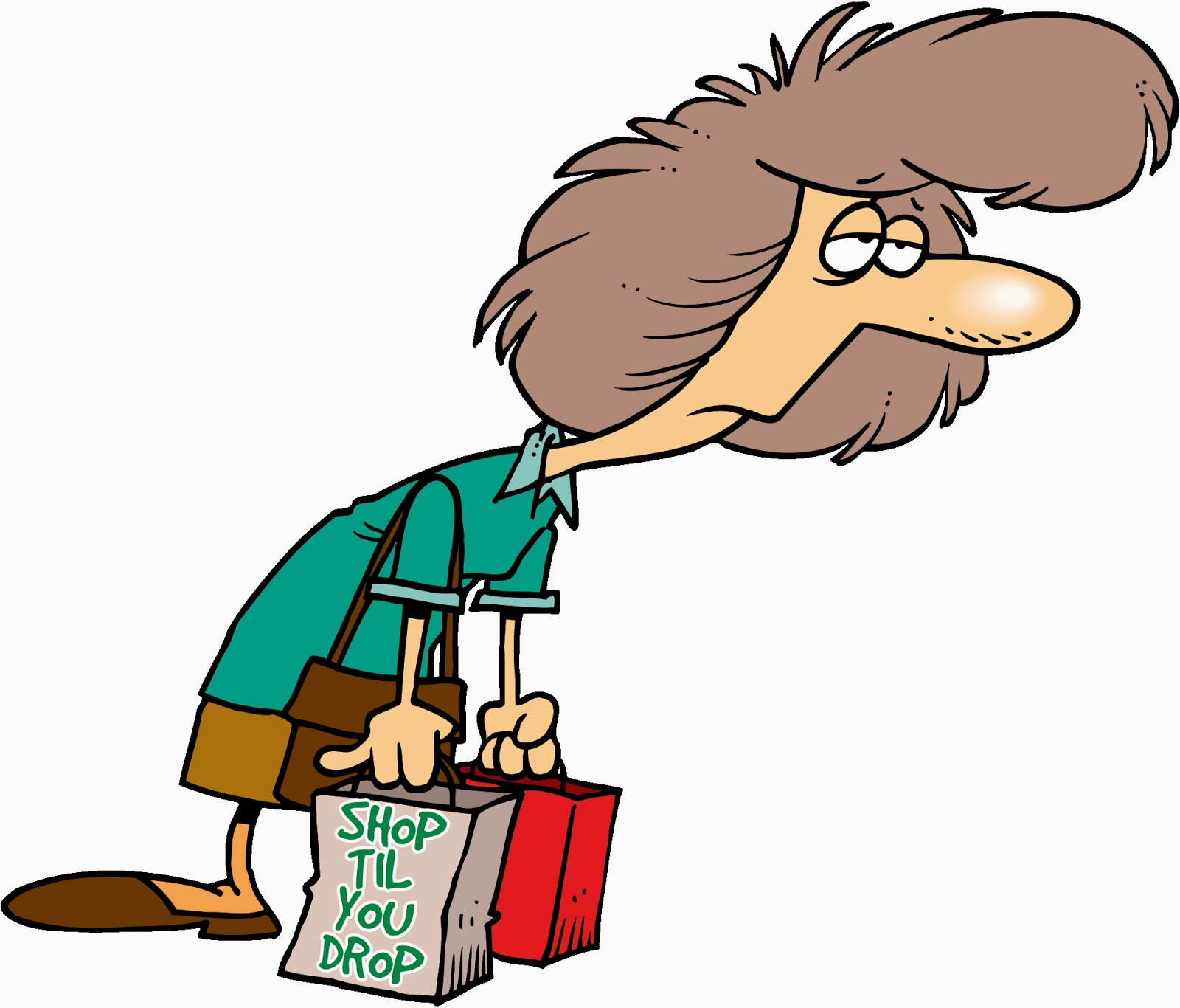Woman tired by shopping cartoon