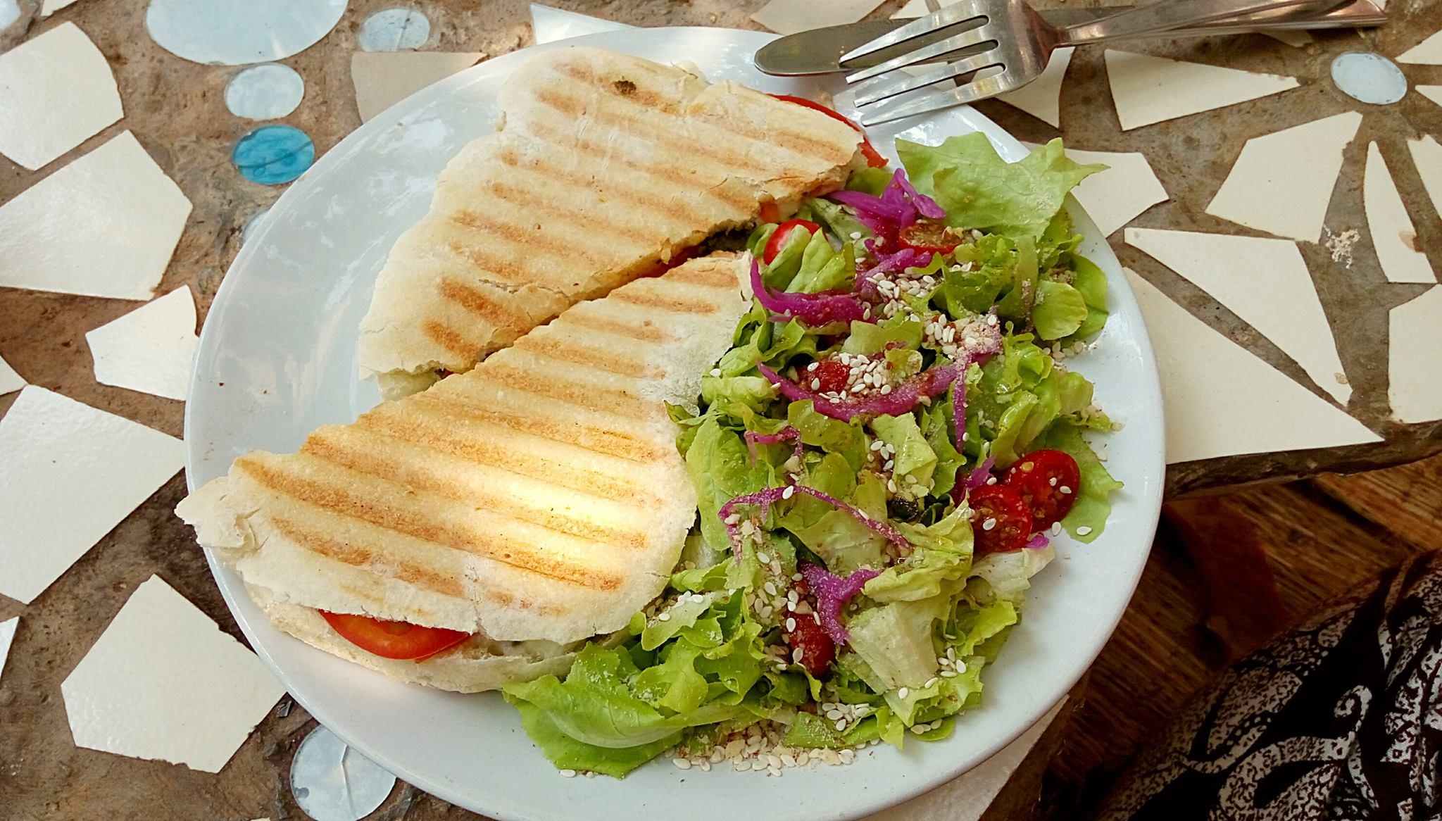 Най-любимият ми сандвич - Pesto Mozarella & Tomato Panini, в най-любимото ни заведение тук - Garden of dreams.
